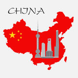 Shanghai buildings on China map Royalty Free Stock Images