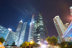 Shanghai buildings at night Stock Photography