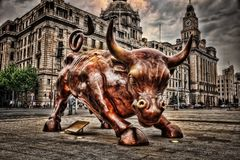 Shanghai Bull Promenade stock photography