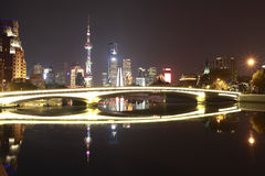 Shanghai bund bridge of skyline at night Royalty Free Stock Images