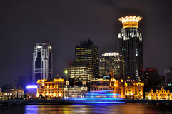 Shanghai Bund business buildings in night stock photography