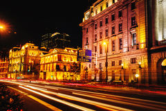 Shanghai bund. Central oldstyle street at night. Royalty Free Stock Photography