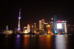 Shanghai The Bund. And at bund china huangpu in night shanghai the waibaidu Stock Photo