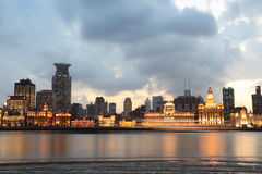 Shanghai bund at dusk Royalty Free Stock Photo