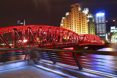 Shanghai bund garden bridge at night Stock Photography