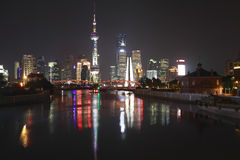 Shanghai bund garden bridge of skyline at night Stock Image