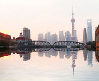 Shanghai Bund garden bridge skyline Stock Images