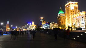 Shanghai Bund and the historic buildings at night stock footage