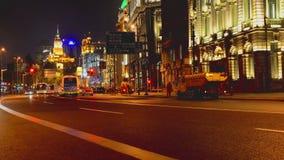 Shanghai Bund historic spot and traffic at night stock video footage