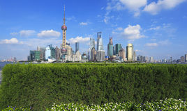 Shanghai bund landmark skyline at city buildings landscape Royalty Free Stock Photos