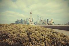 Shanghai bund landmark skyline. At city landscape Stock Photography