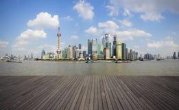 Shanghai bund landmark skyline urban buildings landscape. Shanghai's landmark skyline prospects of wood floor corridor at urban buildings landscape stock photography
