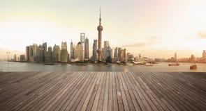 Shanghai bund landmark skyline urban buildings landscape. Shanghai's landmark skyline prospects of wood floor corridor at urban buildings landscape Stock Photo