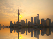 Shanghai bund landmark urban landscape at sunrise skyline Stock Photos