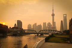 Shanghai Bund medieval garden bridge Royalty Free Stock Photos
