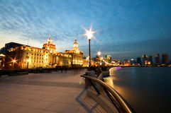 Shanghai Bund at Night. Illuminated buildings at sunset Royalty Free Stock Images