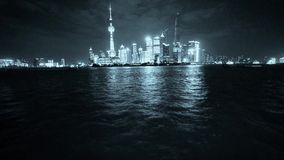 Shanghai bund at night,Brightly lit world financial center building. stock video