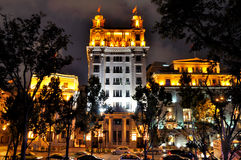 Shanghai Bund night buildings and street. Night view of China Shanghai Bund lighting buildings and street, shown as beautiful business city night landscape, and Stock Images