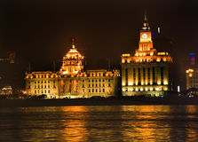 Shanghai Bund at Night Close Up Royalty Free Stock Images