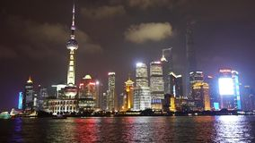 Shanghai bund at night,Lujiazui business center,Brightly lit ship. Gh2_06913 stock footage