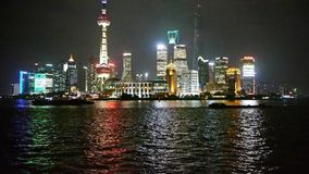 Shanghai bund at night,Lujiazui economic center,busy Huangpu River shipping. Gh2_06862 stock footage