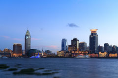 Shanghai the bund night scene Royalty Free Stock Images