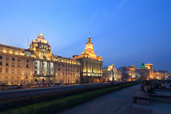 Shanghai the bund night scene.  Royalty Free Stock Photos