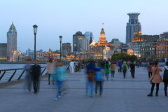 Shanghai the bund night scene Royalty Free Stock Photo