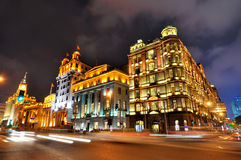 Shanghai Bund night street and buildings Stock Photography
