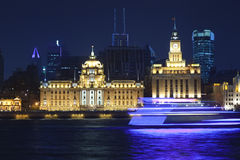 Shanghai bund night view with a moon Stock Images