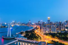 Shanghai the bund in nightfall Stock Photo