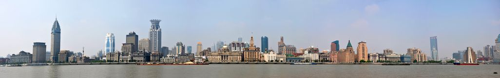 Shanghai Bund panorama, China Royalty Free Stock Photography