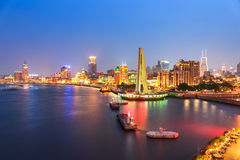 Shanghai bund panorama at night Stock Photography