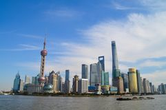 Shanghai By the Bund. Photo of Shanghai Bund area royalty free stock photos