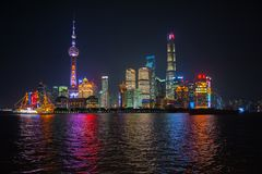 Shanghai Bund. Is located on the banks of the Huangpu River in Shanghai, China. The Bund is 1.5 kilometers in length. It runs from Yan`an East Road in the south stock image