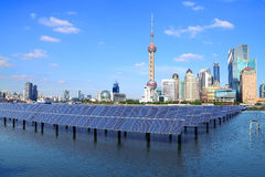 Shanghai Bund skyline landmark at Ecological energy Solar panel Stock Images