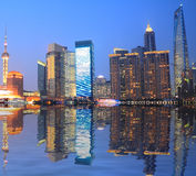 Shanghai Bund skyline at night. Of lujiazui Stock Photography