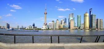 Shanghai bund Skyline of  panoramic Stock Photo