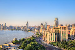 Shanghai bund in sunrise stock images