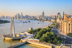 Shanghai bund in sunrise. With morning sun shining Royalty Free Stock Photography