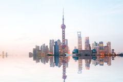 Shanghai bund at sunrise skyline Royalty Free Stock Photos