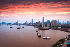Shanghai bund in sunset Royalty Free Stock Photos
