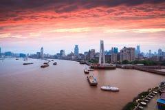 Shanghai bund in sunset. Beautiful shanghai bund with sunset glow Royalty Free Stock Photos