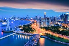 Shanghai the bund in sunset. Nightfall view at shanghai , beautiful huangpu river and bund, China Stock Images