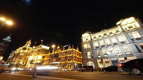 Shanghai bund traffic at night,old-fashioned business building. Gh2_07017 stock footage
