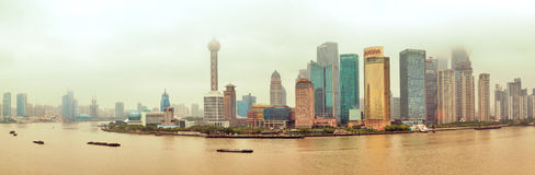 Shanghai Bund view. China , cloudy weather Royalty Free Stock Images