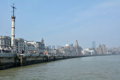Shanghai - The Bund or Waitan. SHANGHAI, CN - MAR 17 2015:Shanghai - The Bund or Waitan skyline. Shanghai Bund has dozens of historical buildings and It is one Stock Photo