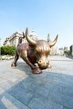 Shanghai Bund Wall Street Bull Stock Photography