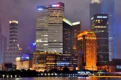 Shanghai business center night, China Stock Photos