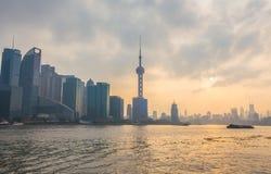Shanghai CBD al tramonto Fotografia Stock